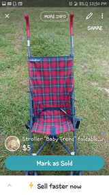 "Stroller ""Baby Trend"" foldable blue and red plaid in Warner Robins, Georgia"