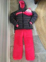 Girls Size 10 Pink and Gray Snow Suit - Snow Parka, Snow Pants, Hat & Gloves in Bolingbrook, Illinois