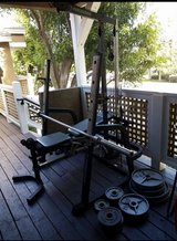 Bench  weights with a bar in Camp Pendleton, California