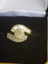 18k Solid Yellow Gold Ring--Center Diamond 1.40ct  Accented  By 20 Baguette Cut Diamonds Approxi... in Fort Rucker, Alabama