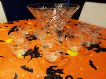 Glass Punch Bowl and Cups in Fort Lewis, Washington