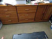 Heavy wood dresser with matching mirrors in Yucca Valley, California