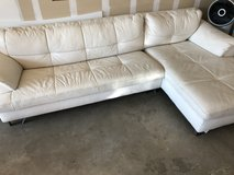 White leather couch and chair in Fort Benning, Georgia