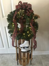 Holiday sled with wreath in Naperville, Illinois