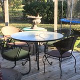 : ) Patio Furniture Set :  Table w/Chairs Stand & Umbrella in Aurora, Illinois