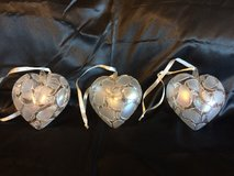 3 blown glass heart ornaments in Joliet, Illinois