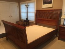 Cherry wood queen bed, dresser with mirror & night stand in Bolingbrook, Illinois