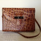Women Vintage genuine leather croc embossed purse in Yucca Valley, California