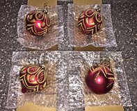 *REDUCED* NEW Red/ Burgundy and Gold Christmas Ornaments. Set of 4. in Okinawa, Japan