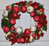 "16"" Red and Gold Christmas Wreath in Okinawa, Japan"