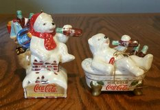 Lot of 2 Coca-Cola Pearlescent Porcelain Polar Bear Ornaments 2003 in Fort Benning, Georgia