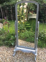 Shabby Chic Painted Grey Antique Style Cheval Mirror Solid Mahogany Very Heavy and Good Quality in Lakenheath, UK