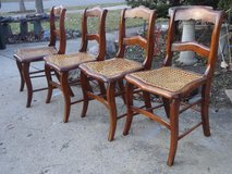 4 Antique Walnut Caned Chairs in Glendale Heights, Illinois