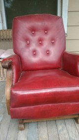 Red leather rocker in Salina, Kansas
