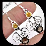 New - Natural Brown Smoky Topaz and Citrine 925 Sterling Silver Earrings in Alamogordo, New Mexico