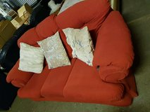 lovely  couch in red fabric in Lakenheath, UK