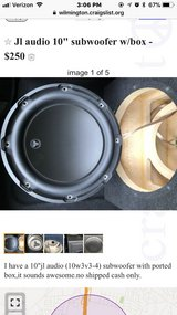 "10"" jl audio subwoofer with ported box in Wilmington, North Carolina"