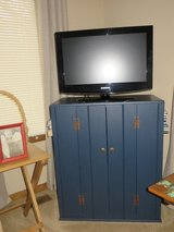NICE!   NAVY BLUE WOOD TV MEDIA  WITH SIDE BOOKCASES - UNIQUE PIECE! in Glendale Heights, Illinois