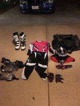 Complete Dirt Bike Riding Gear for Teen with Carrying Bag in Hemet, California