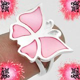 New - Butterfly Pink Pearl Enamel 925 Sterling Silver Ring -Size 6 in Alamogordo, New Mexico
