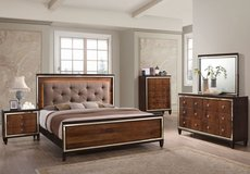 Claire Chocolate Hardwood Solids 5/0 Queen Lighted Bed FREE DELIVERY in 29 Palms, California
