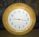 Wall clock round light oak color battery operated in Oswego, Illinois