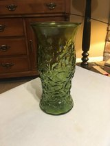 70's Green Crinkle Glass Vase in Fort Campbell, Kentucky