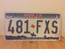 Texas license plate 481 FXS in Okinawa, Japan