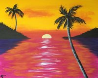Acrylic sunset painting in Oswego, Illinois