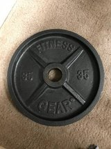 Pair of 35 pound Olympic iron weight plates in Camp Pendleton, California