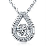 925 Sterling Silver Dancing Diamond Pendant Necklace in Fort Irwin, California