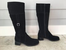 Women's Black Suede Knee Length Boots - La Canadienne Brand Size 7.5 in Lockport, Illinois