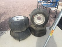 Set of paddle tires for a quad in Fort Irwin, California
