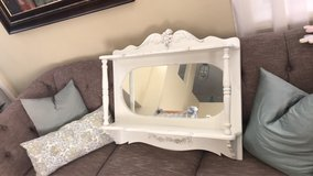 Shabby Chic French Provincial heavy wood over buffet shelf with mirror in Hemet, California
