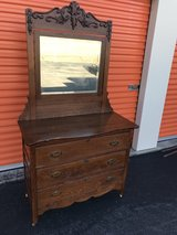 Antique Tiger Oak Dresser w/ Beveled Mirror Heavy Carved Top in Cherry Point, North Carolina