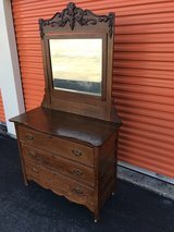 Tiger Oak Dresser w/ Beveled Mirror Heavy Carved Top in Cherry Point, North Carolina