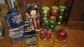 Christmas ornaments and Santa sleigh deco in Chicago, Illinois