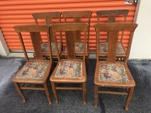 6 Qtr Sawn Oak T Back Chairs in Cherry Point, North Carolina