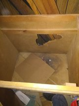 wood sink cabinet used in Fort Campbell, Kentucky