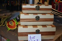 set 3 chequered wooden Boxes ideal gift in Lakenheath, UK