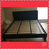 King Size Black Leather Bed in Conroe, Texas