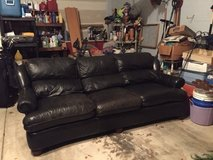 Black Leather Couch, Recline & Coffee Table for Sale in Elgin, Illinois