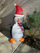 Holiday inflatable penguin in Travis AFB, California