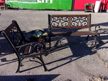Three Pice Wood and Cast Iron Patio Set in Fort Riley, Kansas