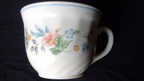 Set of 4 Arcopal Tea Cups from France with colorful flower pattern & blue trim! in Elgin, Illinois