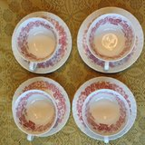 Set of 4 four Bramble of Etruria Wedgwood & Barlaston made in England red pink transferware cups... in Beaufort, South Carolina
