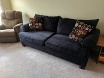Black microsuede couch in Elgin, Illinois