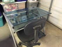 Glass desk and steno chair in Yucca Valley, California