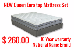 Tax Time Inventory Liquidation Sale !!! New Queen Euro Mattress Sets 260.00 ,5 Piece Cherry Bed... in Cherry Point, North Carolina