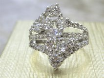 **925 Sterling Silver CZ Diamond Waterfall Ring (Size: 7)** in Conroe, Texas